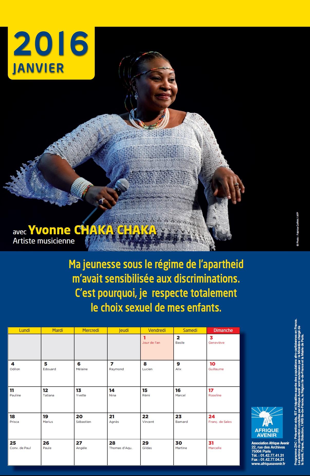 Calendrier 2016: Contre la stigmatisation et la discrimination de l'homosexualité