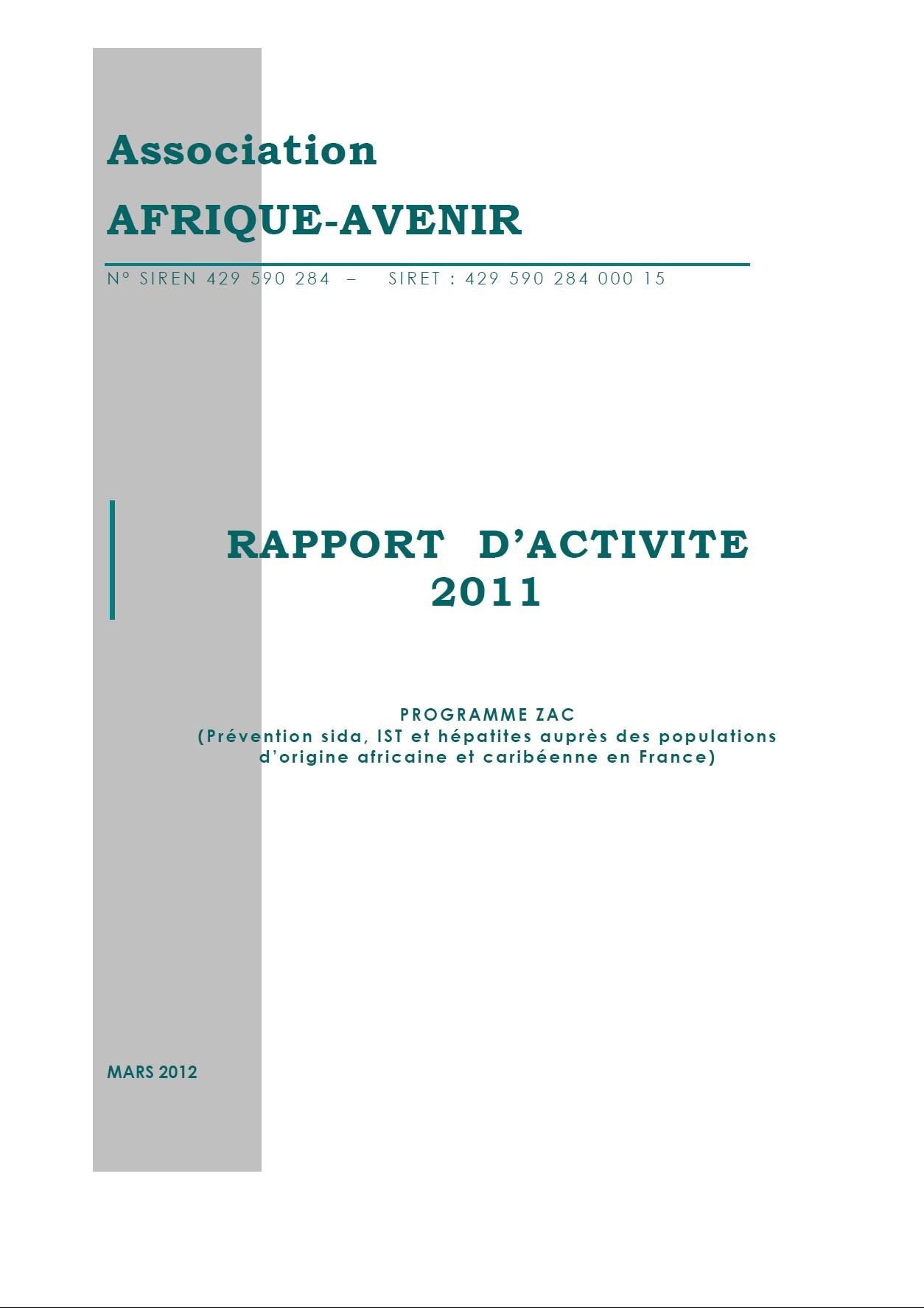 RAPPORT D'ACTIVITE 2011