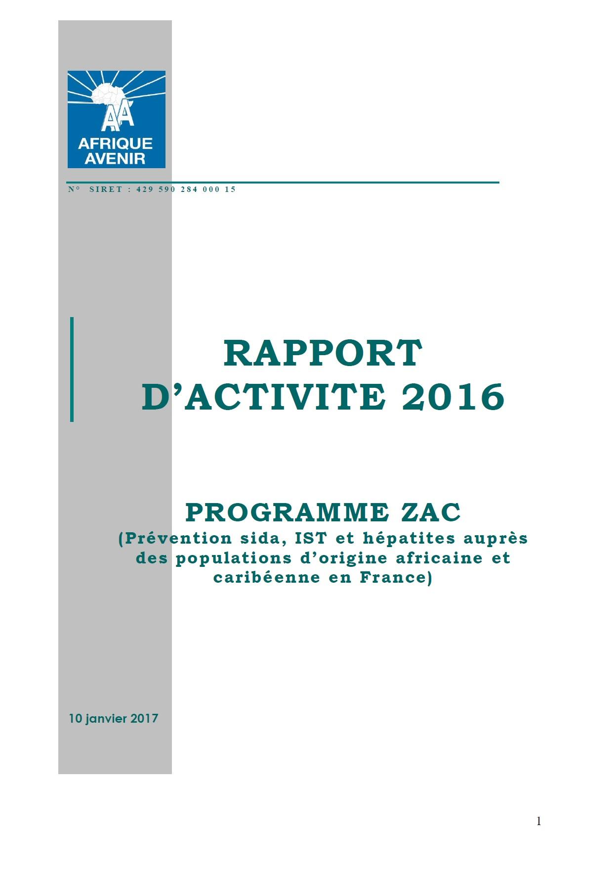 RAPPORT D'ACTIVITE 2016