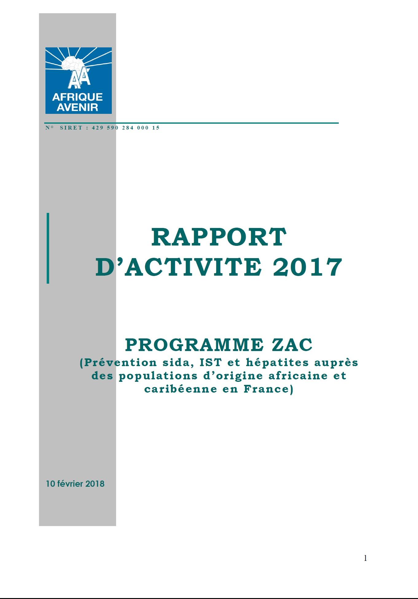 RAPPORT D'ACTIVITE 2017
